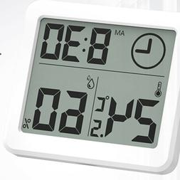 1pc Hygrometer Wireless with Clock for Living Room Bedroom O