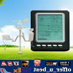 433MHZ Solar Power Wireless Rain Gauge Weather Station Therm