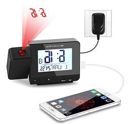 SMARTRO Alarm Clock, Digital Projection Clock with USB Charg