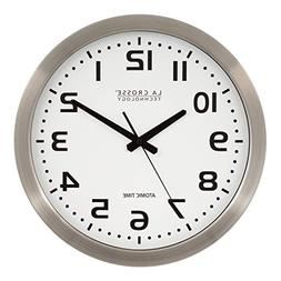 "La Crosse Technology 16"" Atomic Metal Analog Clock WT-3161WH"