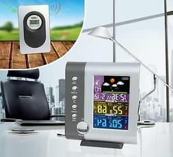 Atomic Weather Station Alarm Clock Radio Indoor Outdoor Temp