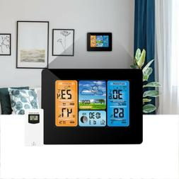 Black Digital LCD Wireless Color Weather Station Calendar Th