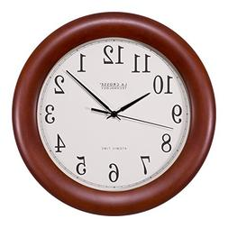 cherry wood atomic analog clock