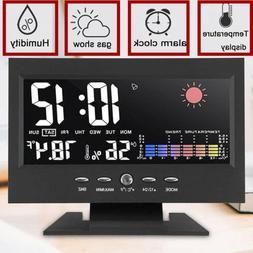 Desk Digital Alarm Clock Weather Thermometer  LED Temperatur