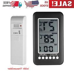 Digital Indoor Outdoor Thermometer Clock Temperature Meter W