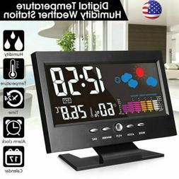 2020 LED Digital Alarm Clock Snooze Calendar Thermometer Wea