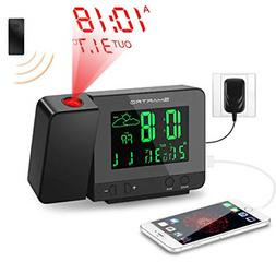 SMARTRO Digital Projection Alarm Clock with Weather Station,
