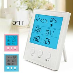 Digital Thermometer Hygrometer Alarm Clock Large Screen Indo