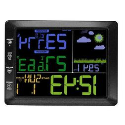 Digital Wireless Weather Station Alarm Clock with Large LCD