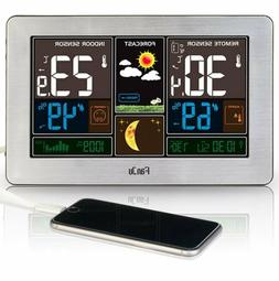 FanJu FJ3378S Color Weather Station with USB Charger/Tempera