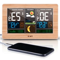 FanJu FJ3378W Color Weather Station with USB Charger/Tempera