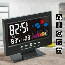 Indoor Thermometer Hygrometer Alarm LCD Digital Clock Calend