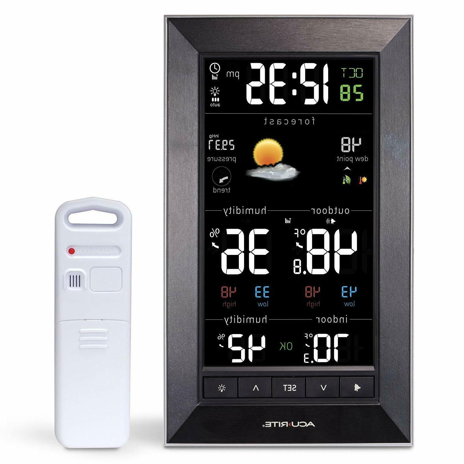 acurite vertical wireless color weather station dark