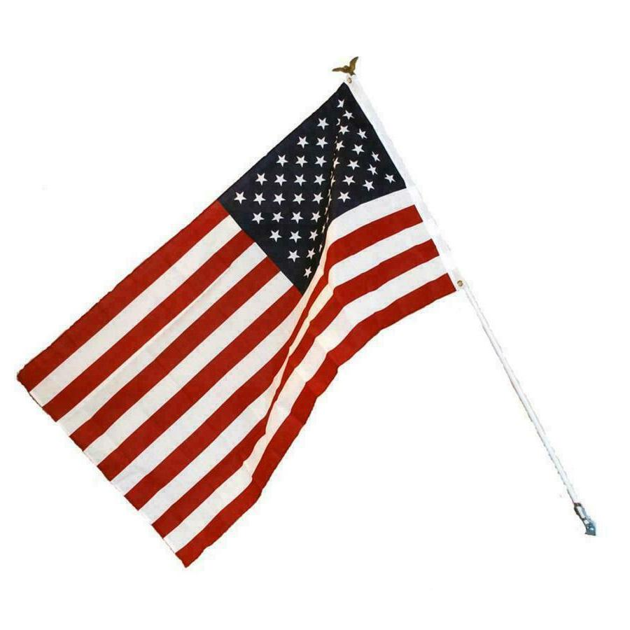 American Flag Kit - Includes Flag, White Steel Pole w Eagle