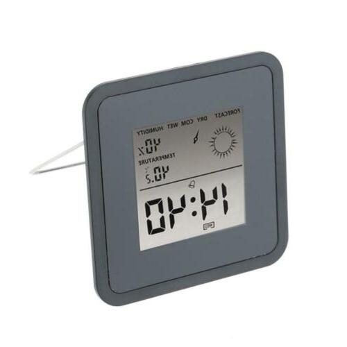 Black Plastic Thermometer Hygrometer Clock Weather Station D