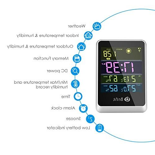 Brifit Outdoor Thermometer Weather Station, Large Digital Tabletop, Weather Forecast, Alarm Clock & Snooze