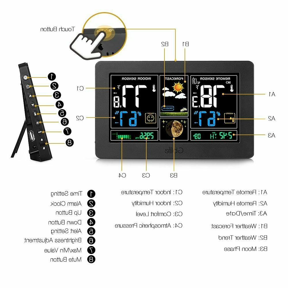 Color Digital LCD Weather Station Wireless Indoor Outdoor