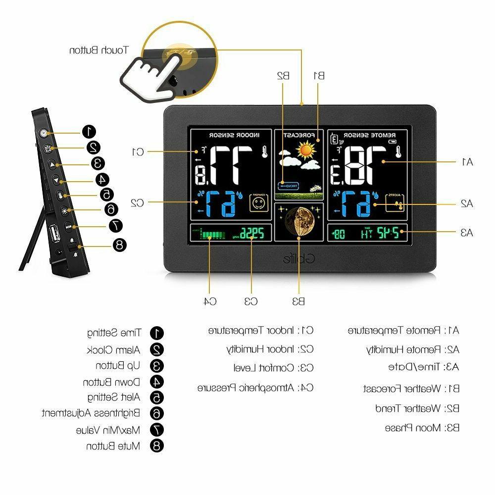 Color Digital LCD Weather Station Wireless Indoor Outdoor