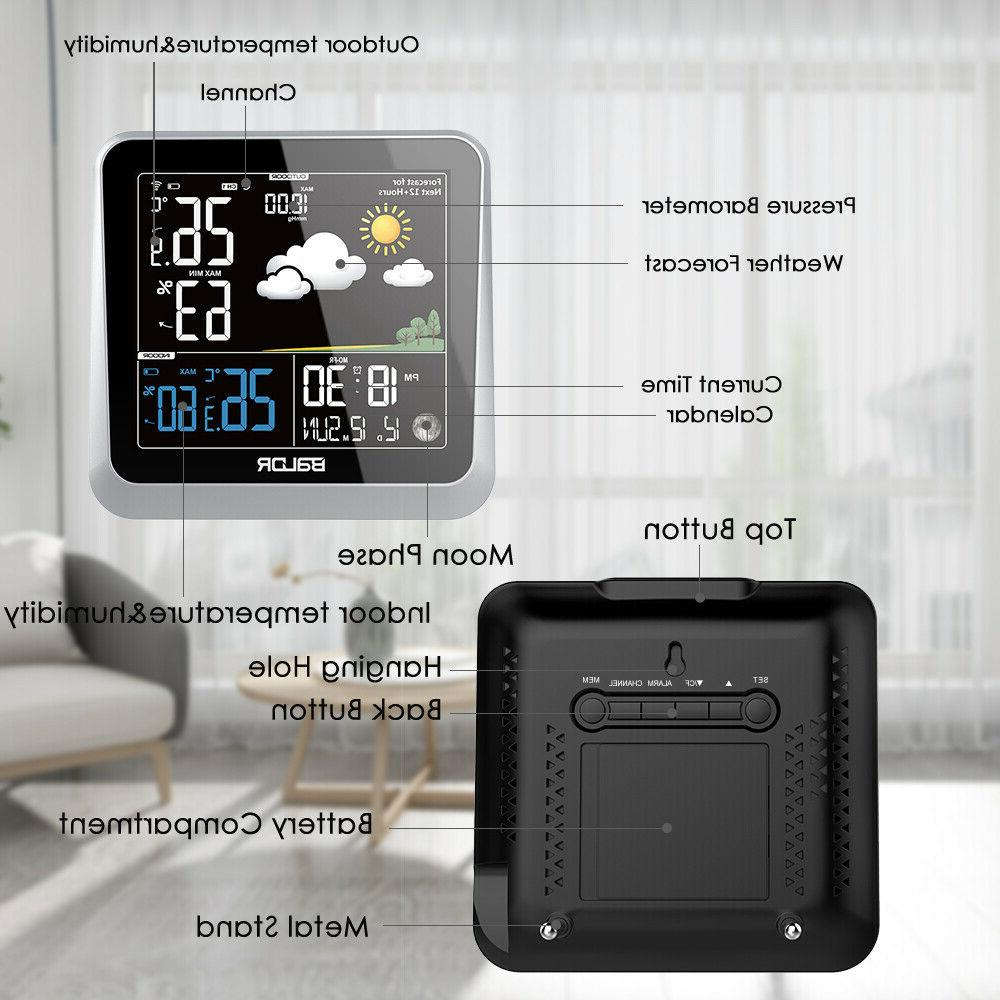 BALDR Color Digital Weather Station Wireless Indoor/Outdoor with Barometer