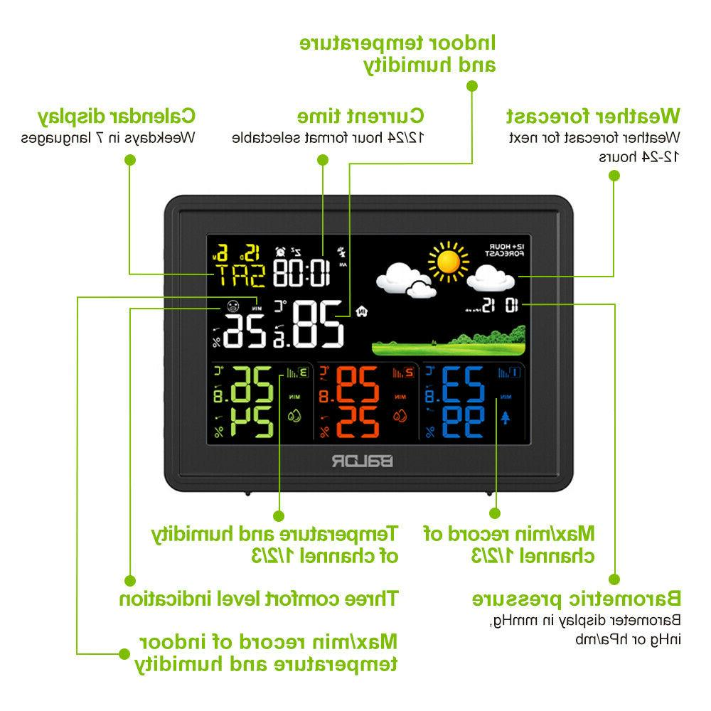 BALDR Digital LCD Outdoor Weather Station Temperature Humidity Sensors