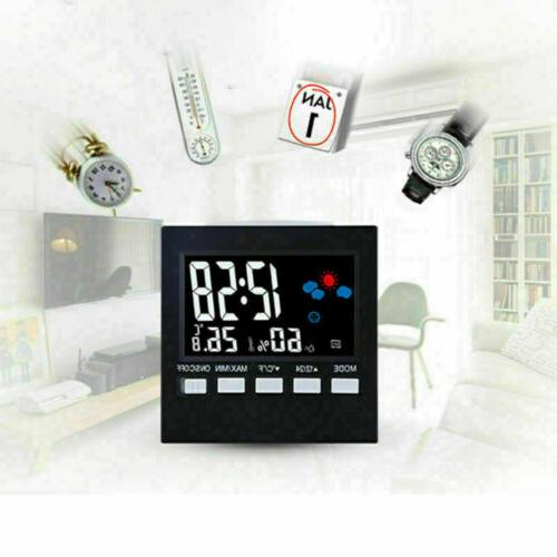 digital thermometer hygrometer snooze alarm clock weather