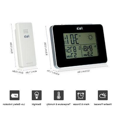 fanju battery operated digital weather station alarm
