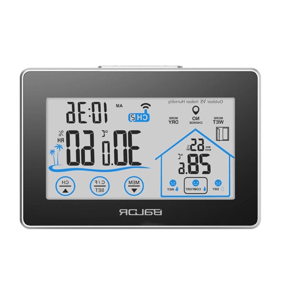 <font><b>BALDR</b></font> B0317H2T-2 <font><b>Weather</b></font> <font><b>Station</b></font> Wireless Touch Wall Clock Moisture Temperature Meter
