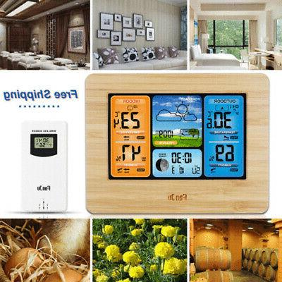 Indoor Outdoor Digital Wireless Station Calendar Thermometer