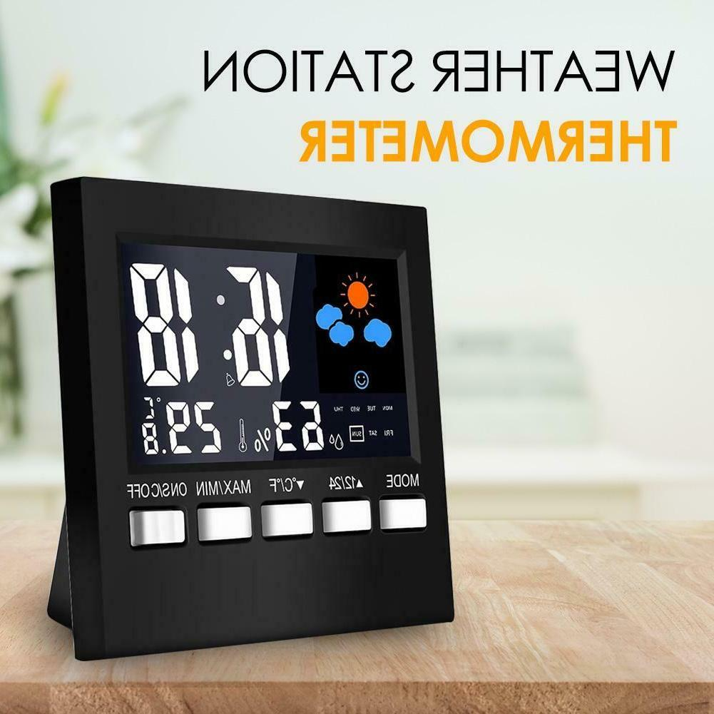 LCD Digital Station Multi-function Thermometer Alarm Clock
