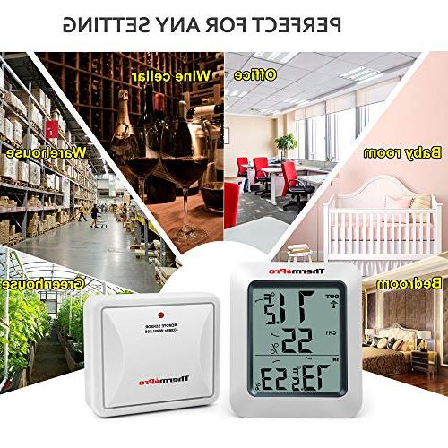 ThermoPro Indoor Thermometer Meter, Wireless, Range, White