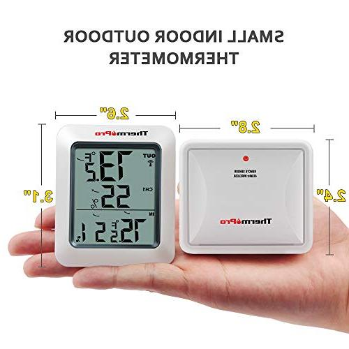 Indoor Monitor, with Temperature Gauge Meter, Wireless, 200ft/60m Range, White