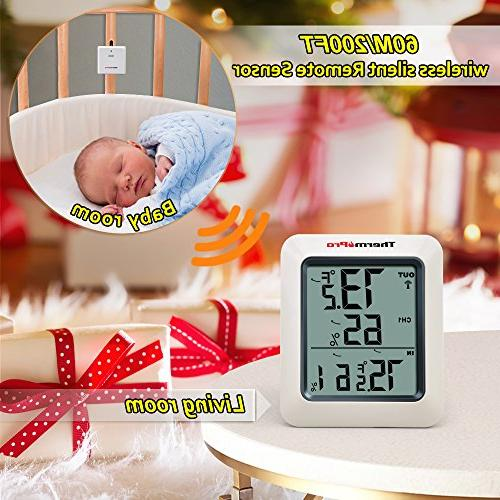 ThermoPro TP-60S Digital Indoor Outdoor Monitor, with Temperature Meter, Wireless, White