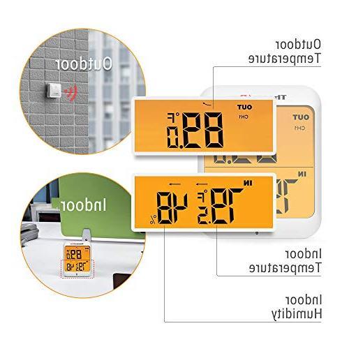 Hygrometer Indoor Wireless and Monitor Waterproof Humidity Range