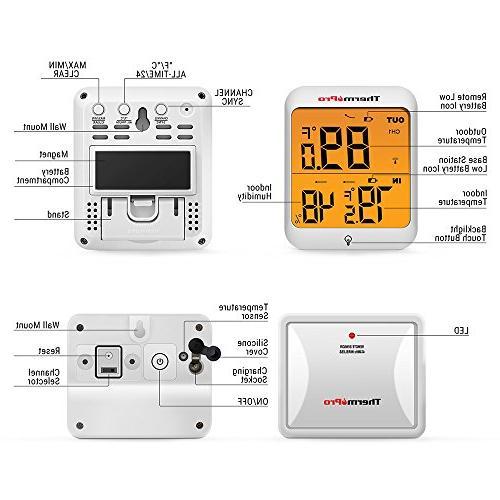 ThermoPro Hygrometer Indoor Wireless Monitor with Waterproof Humidity Gauge, 200ft/60m Range