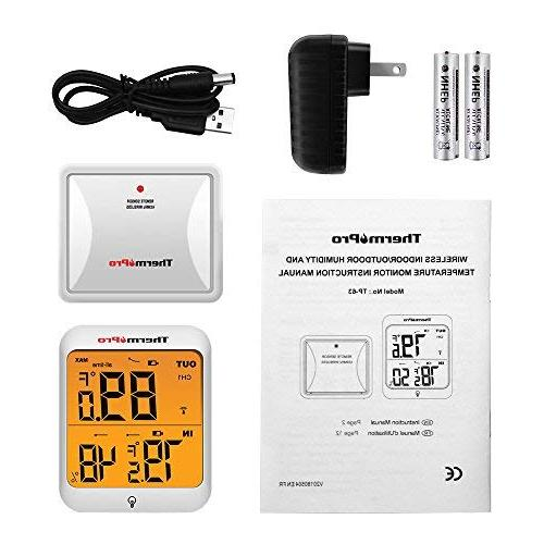 ThermoPro Digital Hygrometer Wireless and Humidity Monitor with and Waterproof Humidity Range