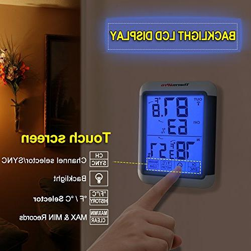 ThermoPro Digital Wireless Hygrometer Wireless Temperature Monitor with Jumbo Touchscreen and Backlight 200ft/60m