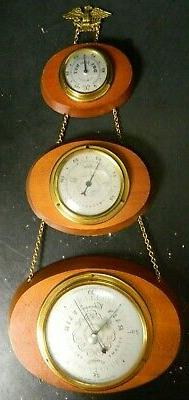 Vintage Swift Instruments Oval Wood & Brass 3 Tier Weather S