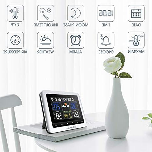 Weather Station, Digital Outdoor thermometer Barometer Wireless Weather Forecast Station with Remote Monitor, Time Readings