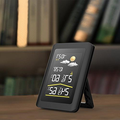 BALDR Color Wireless Weather Station LCD Screen Clock and Calendar, Temperature Humidity,