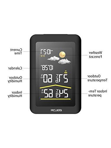 BALDR Wireless Station LCD Screen Forecast, Barometric Clock and Gauge Temperature Indoor Humidity,