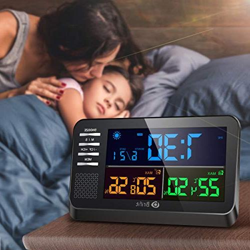 AMIR Weather Color Clock with Clock, Snooze Function, Wireless Forecast Station with Outdoor Thermometer for