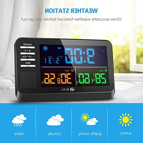 AMIR Weather Color Display Calendar with Clock, Function, Wireless Forecast Station with Indoor Outdoor Thermometer Home,Bedroom