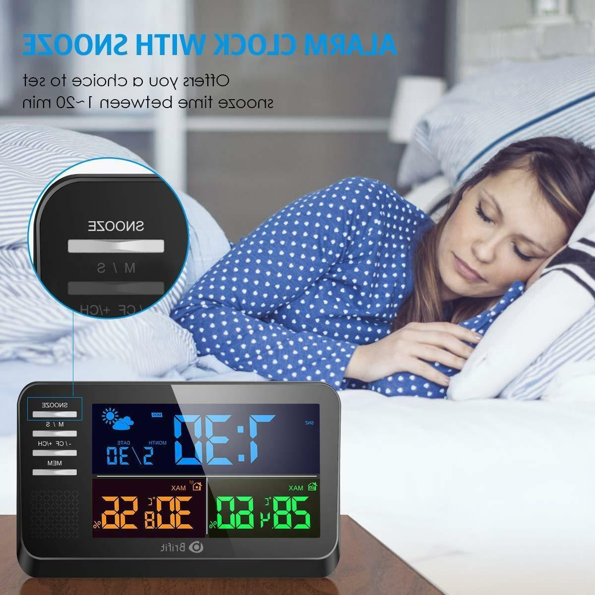 AMIR Weather Large Color Clock with Alarm Snooz