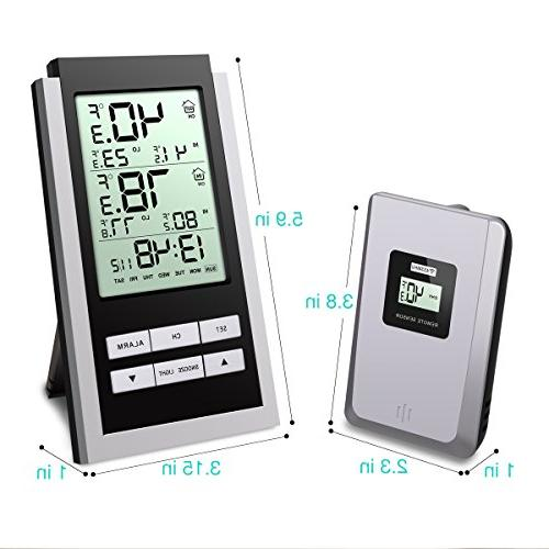 Wireless Indoor LCD Thermometer with Alarm Clock and Function, with Blue Home, Office, Baby Battery