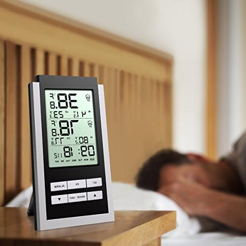 Wireless Indoor LCD with Alarm Clock Function, with Home, Battery Not