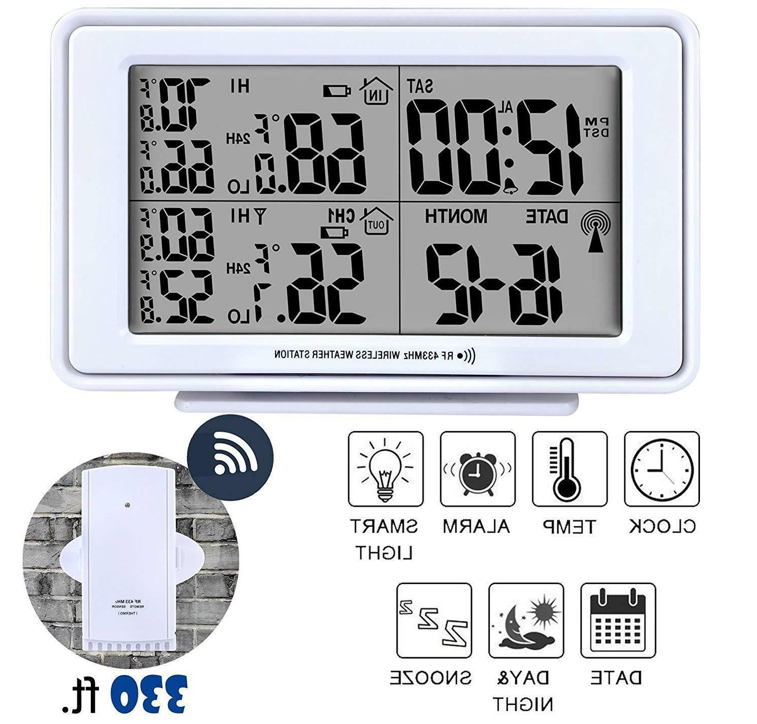 wireless weather station digital alarm clock lcd