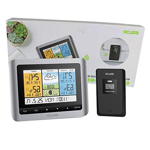 BALDR Wireless Color Station, Digital Indoor/Outdoor Humidity Barometer, with Constant Back-Light, Adapter Included