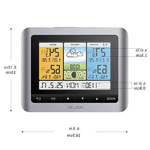 BALDR Wireless Color Weather Station, & Hygrometer Humidity Barometer, Weather with Back-Light, Adapter