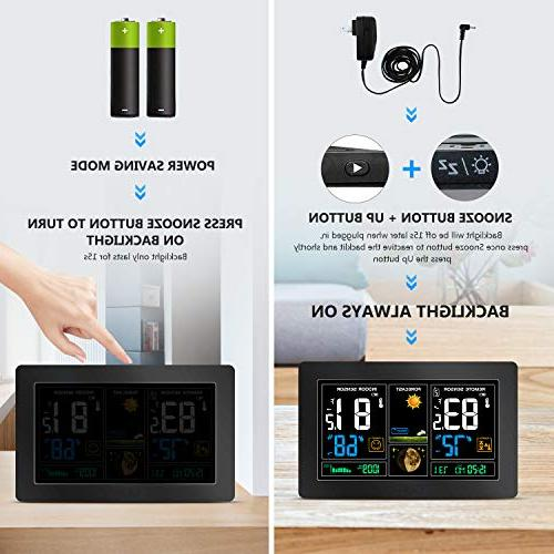 Indoor Thermometer Remote Sensor, Humidity Barometer, Clocks with Temperature Alerts