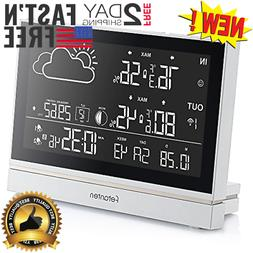 Large LCD Digital Wireless Weather Station Indoor Outdoor Th